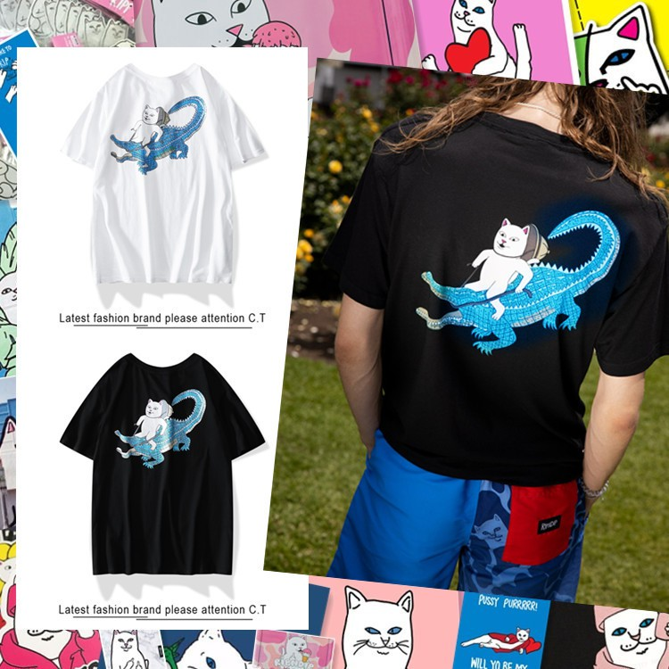 f659626b73862 💖Ready Stock 💖RIPNDIP lovers T-shirt printed cotton short-sleeved T-shirt