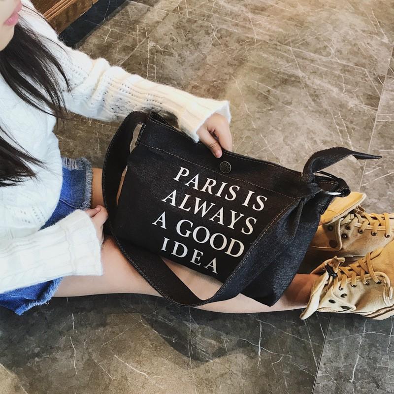 Korean Denim Children S Bags With Letters And Decorative Handbags