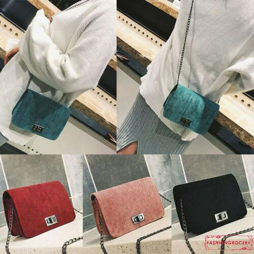 ❥Only➢Women Retro Velvet Small Shoulder Bag Messenger Cross Body Chain Bags