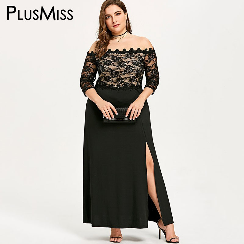 7c7ec5c918f PlusMiss Plus Size 5XL XXXXL XXXL Sexy Mesh Off Shoulder Lace Dress Women  Big