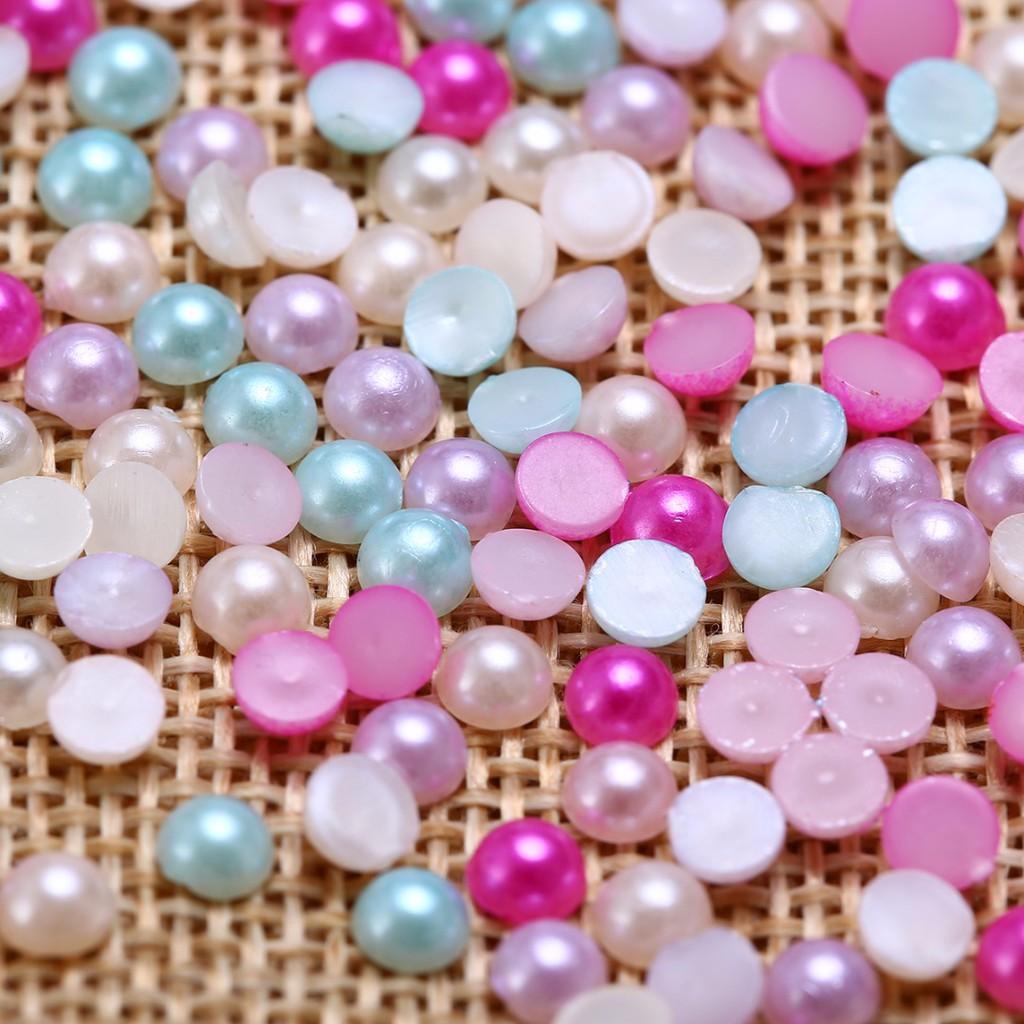 Beads & Jewelry Making Jewelry & Accessories Romantic 500 Royal Blue Half Pearl Bead 8mm Flat Back Round Gems Scrapbook Craft