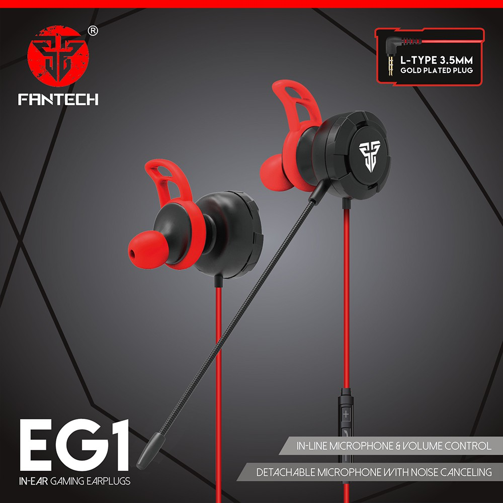 Fantech In-Ear Gaming Earplugs with Detachable Microphone and Volume Control EG1