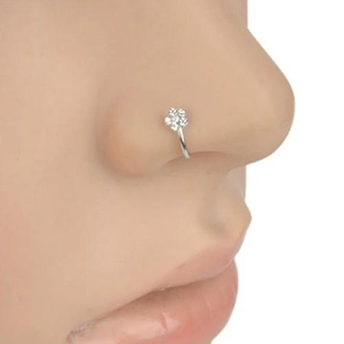 20 Pcs Silver Rhinestone Nose Studs Rings 8 Colors Beautiful Flower Shap Stylish