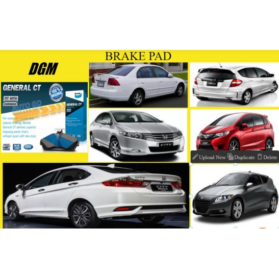Bendix Honda Civic 1.7 S5A / City TMO T9A / Jazz TFO T5A CRZ 2008-2017Y Front Disc Brake Pad General CT (DB1991GCT)