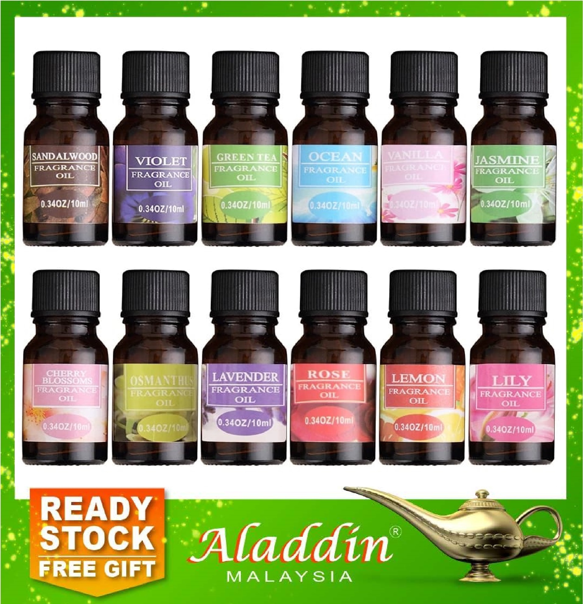 Aladdin 12 Natural Plant 10ml Aromatherapy Fragrance Essential Oil Air Diffuser Humidifier 12g4 Shopee Malaysia
