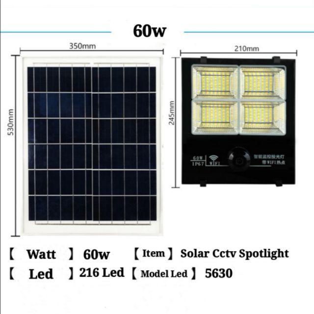 [ READY STOCK ]  Solar Powered 60W Cctv Security Spotlight Solar Flood Light with Remote Control Pelita Lampu Lamp