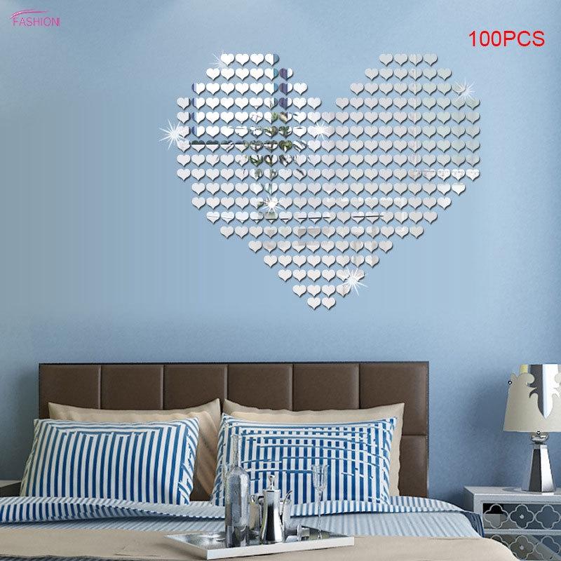 UK/_ EG/_ 10Pcs//set Love Heart 3D Mirror Wall Art Sticker Decal Removable Home Dec