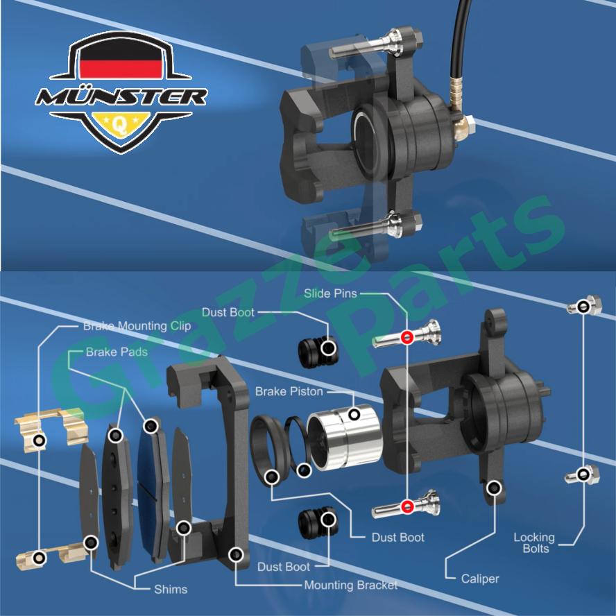 (4pcs) Münster Rear Disc Brake Caliper Guide Pin Bolt Silicon Silicone Sleeve Nissan X-Trail XTrail T30 X Trail
