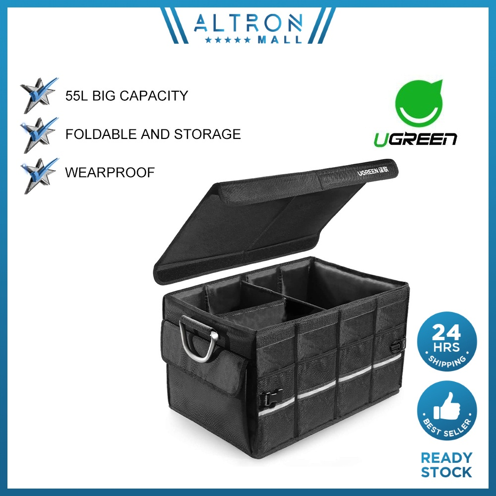 UGREEN Car Boot Organiser 55L Waterproof & Foldable Storage Tidy Box Trunk Bag Maintenance Shopping Bag Hiking Camping