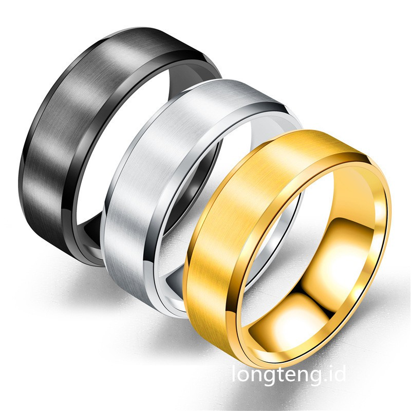 ee6f95c4a1f2d Titanium Cincin Cool Simple Men Ring Black Gold Silver Polishing Finger Ring