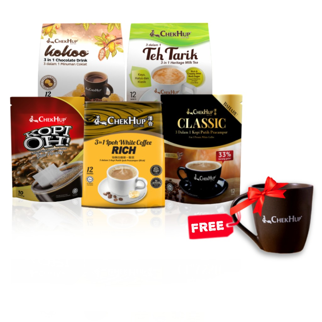 FREE Mug Chek Hup Starter Bundle 2 (Rich + Classic + Kokoo Original + Teh Tarik Rich & Creamy + Kopi Oh!with Brown Sugar
