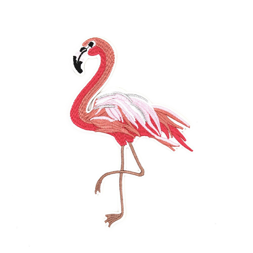 Badge Fabric Bag Clothes Embroidery Applique Flamingo Iron-On or Sew-On Patch
