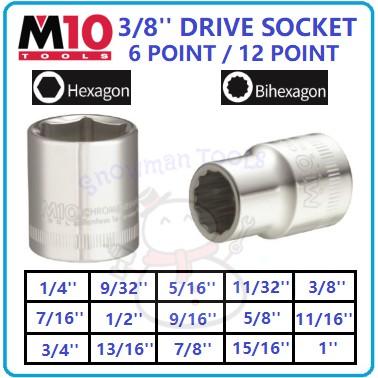 """SOKET SPANAR 6 KAKI 12 KAKI 3/8"""" M10 BRAND DRIVE SOCKET 6 POINT / 12 POINT 1/4"""" 9/32"""" 5/16"""" 11/32"""" 3/8"""" 7/16"""" 1/2"""" 9/16'"""