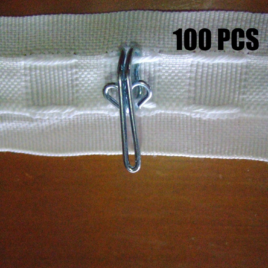 100pcs CURTAIN HOOKS Metal 28mm FOR PENCIL PLEAT TAPES Gold Silver @