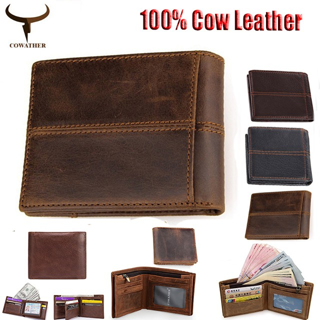 9575140a9486 COWATHER Men Leather Wallets Full Cow Leather Wallet Bi-fold Money Clip |  Shopee Malaysia