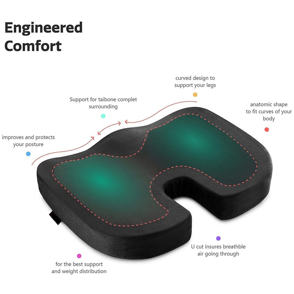 Coccyx Seat Cushion Orthopaedic Luxury Chair Pillow 100% Memory Foam Back Pain Relief/Sciatica/Tailbone Pain/Back SUPPOT