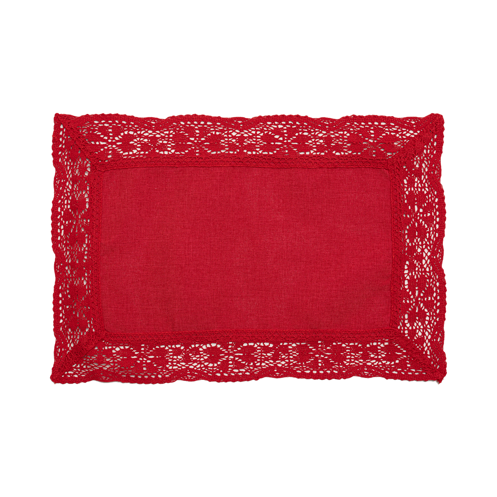 """Nostalgic Red Rectangle Placemats/Table Mats With 6cm Cotton Crochet Lace Edges. 30x45cm/12x18"""" (Red)"""