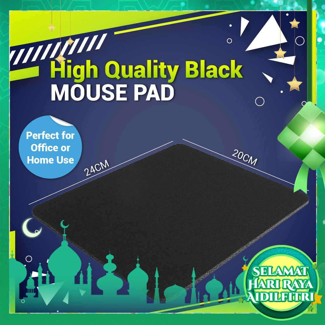 High Quality Black Mouse Pad - Perfect for Office or Home Use
