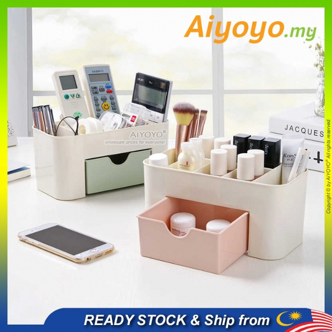 Cosmetic Storage Box Desk Organiser Kotak Kosmatic Kotak Simpan Makeup Box Brush Box Lipstick Eyeshadow Nail Container D
