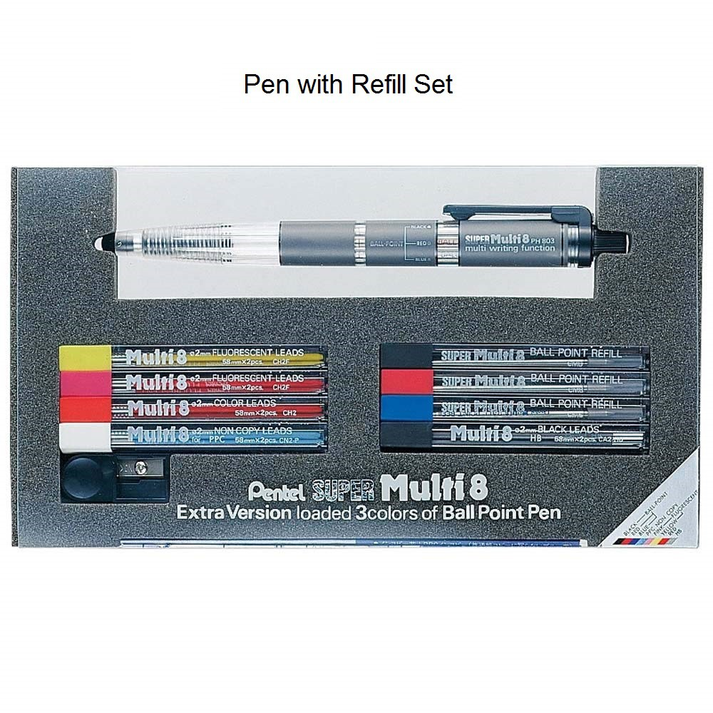 Pentel Super Multi 8 0.7 mm Ballpoint Pen 2 mm Lead Holder japan ... From Japan