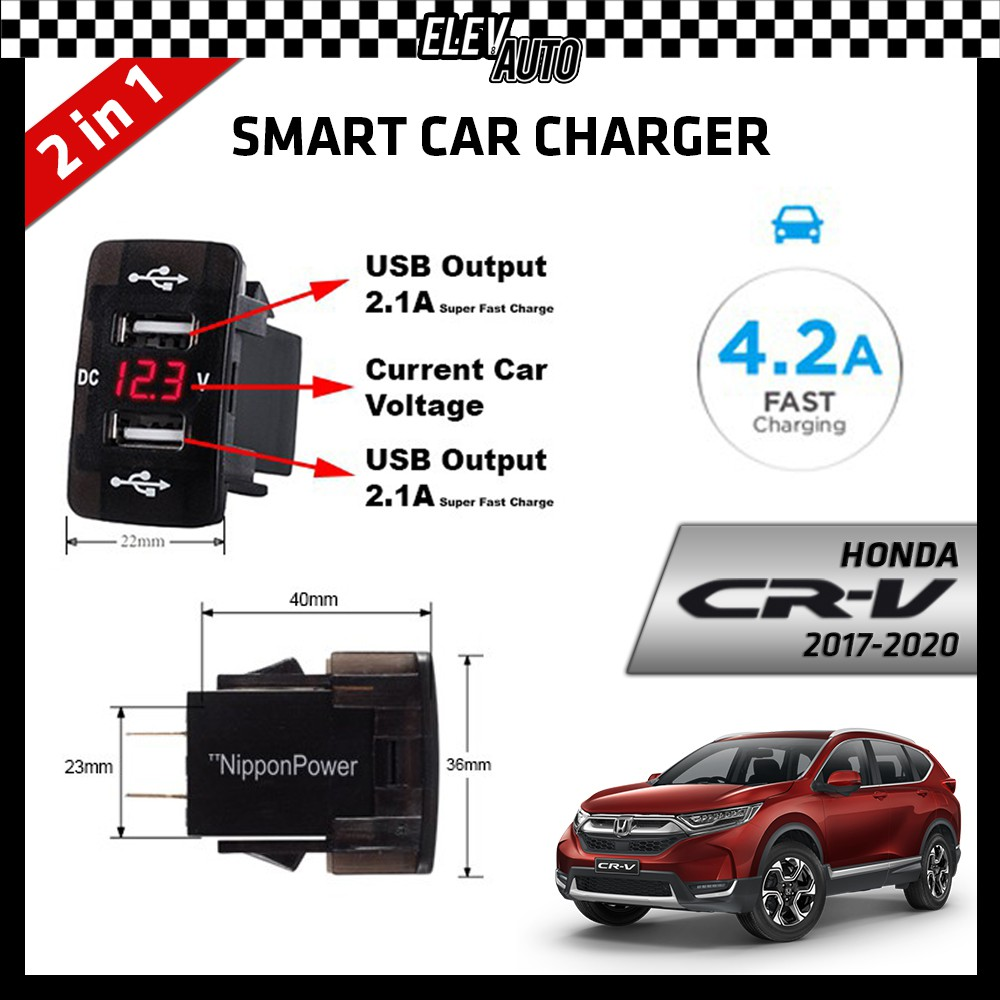DUAL USB Built-In Smart Car Charger with Voltage Display Honda CR-V CRV 2017-2021