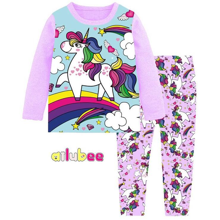 33700848cea9 Ailubee Purple RAINBOW UNICORN Pyjamas (2Y-7Y)
