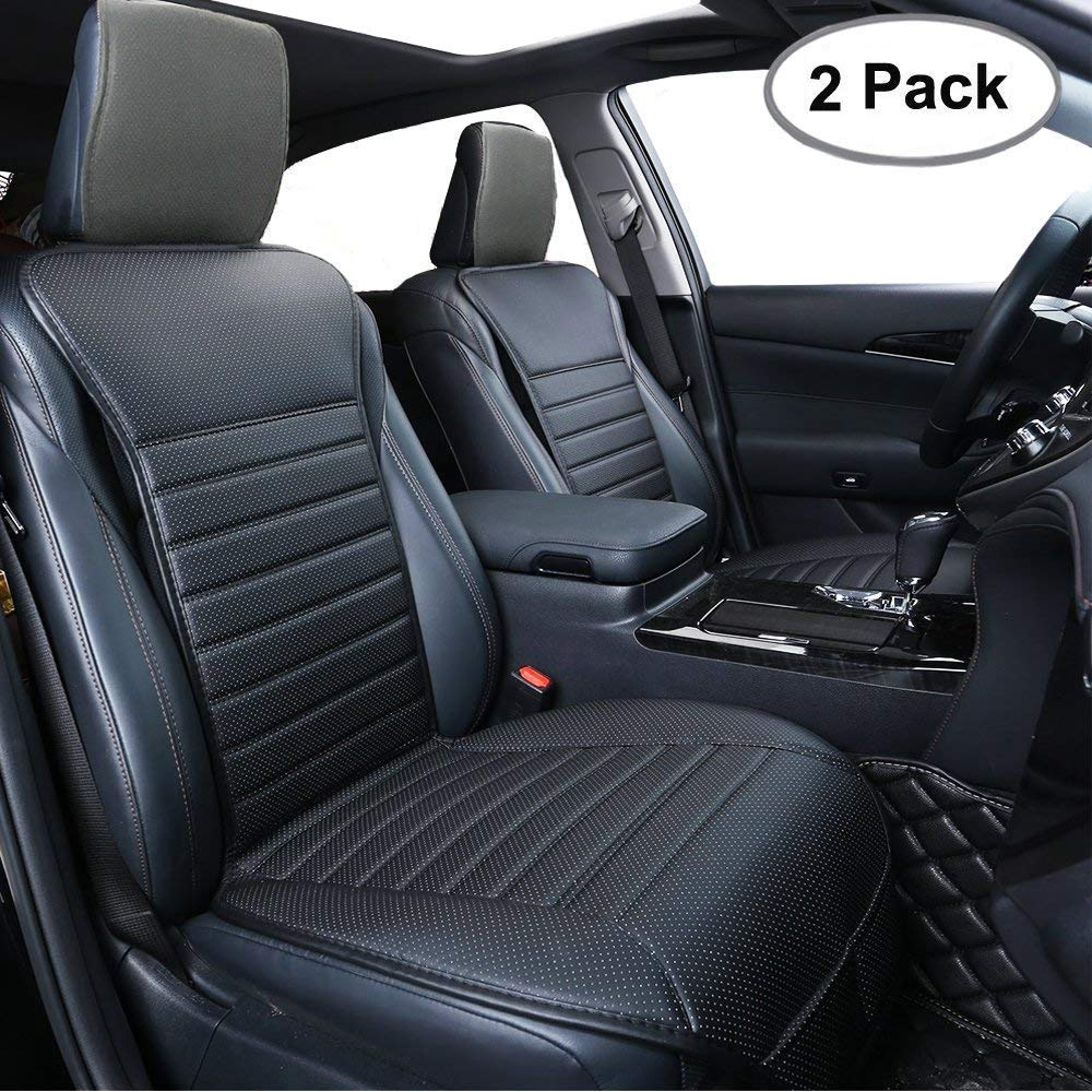 2PC Car Front Seat Cover Breathable Pad Mat Cushion Universal PU Leather Protect