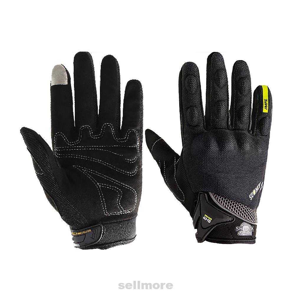 1 Pair Full Finger Nylon Gloves Moto Cycling Breathable Durable Anti-slip Black