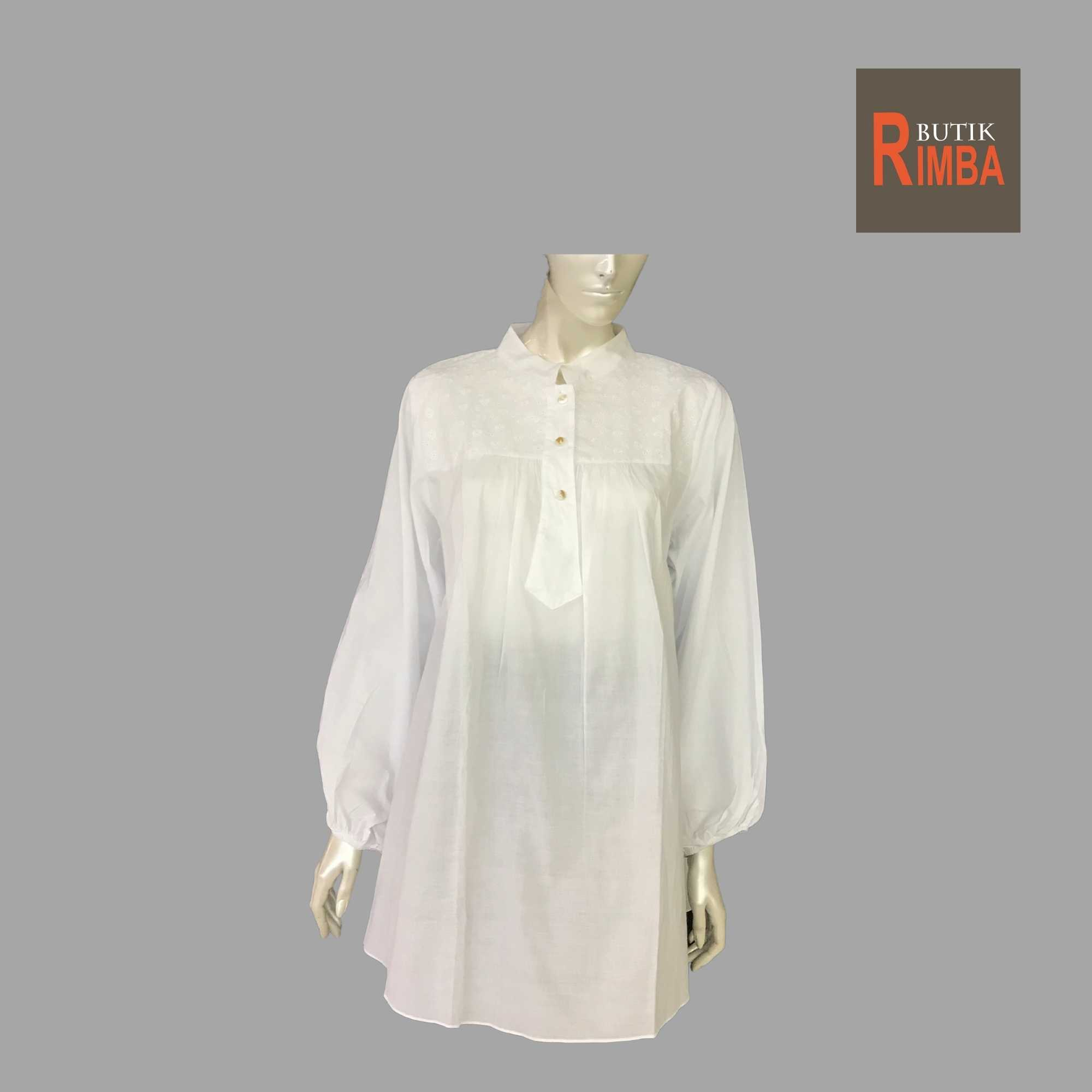 WOMEN CASUAL AND COMFORTABLE WHITE BLOUSE COTTON FREE SIZE PATTERN 07
