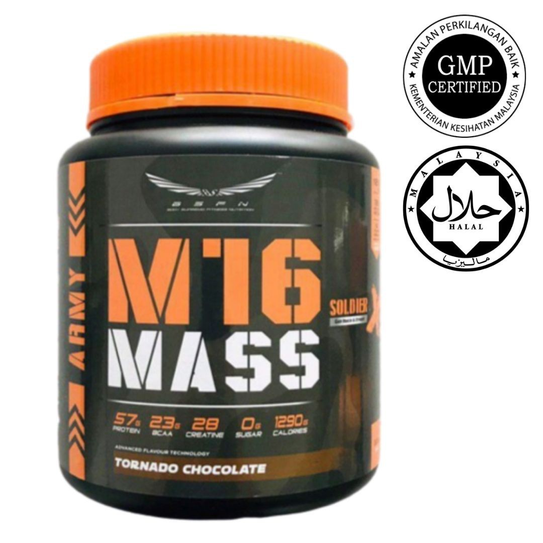BSFN M16 Mass Soldier X 1.5 kg Mass Protein Gainer Build Muscle Zero Sugar Halal Certified KKM Approved 50 (READY STOCK)
