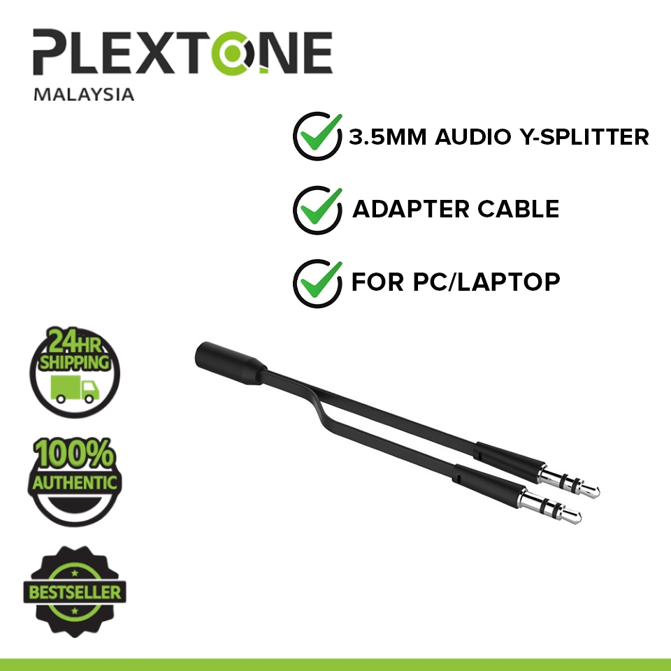 PLEXTONE 3.5mm Female to 2 Male Headphones Mic Audio Y Splitter