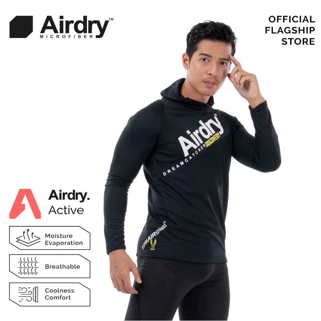 AIRDRY DISCOVERY Unisex Microfiber Long Sleeve Hoodie (Black) DH5001