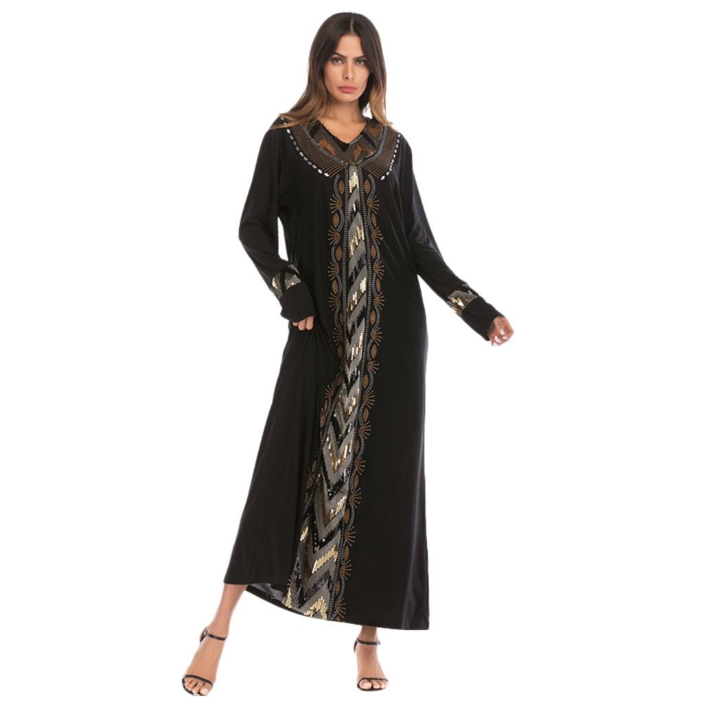 2f0a928b04 Women Muslim Sequin drilling Long Sleeve Dress Abaya Jilbab Dubai Kaftan  Islamic