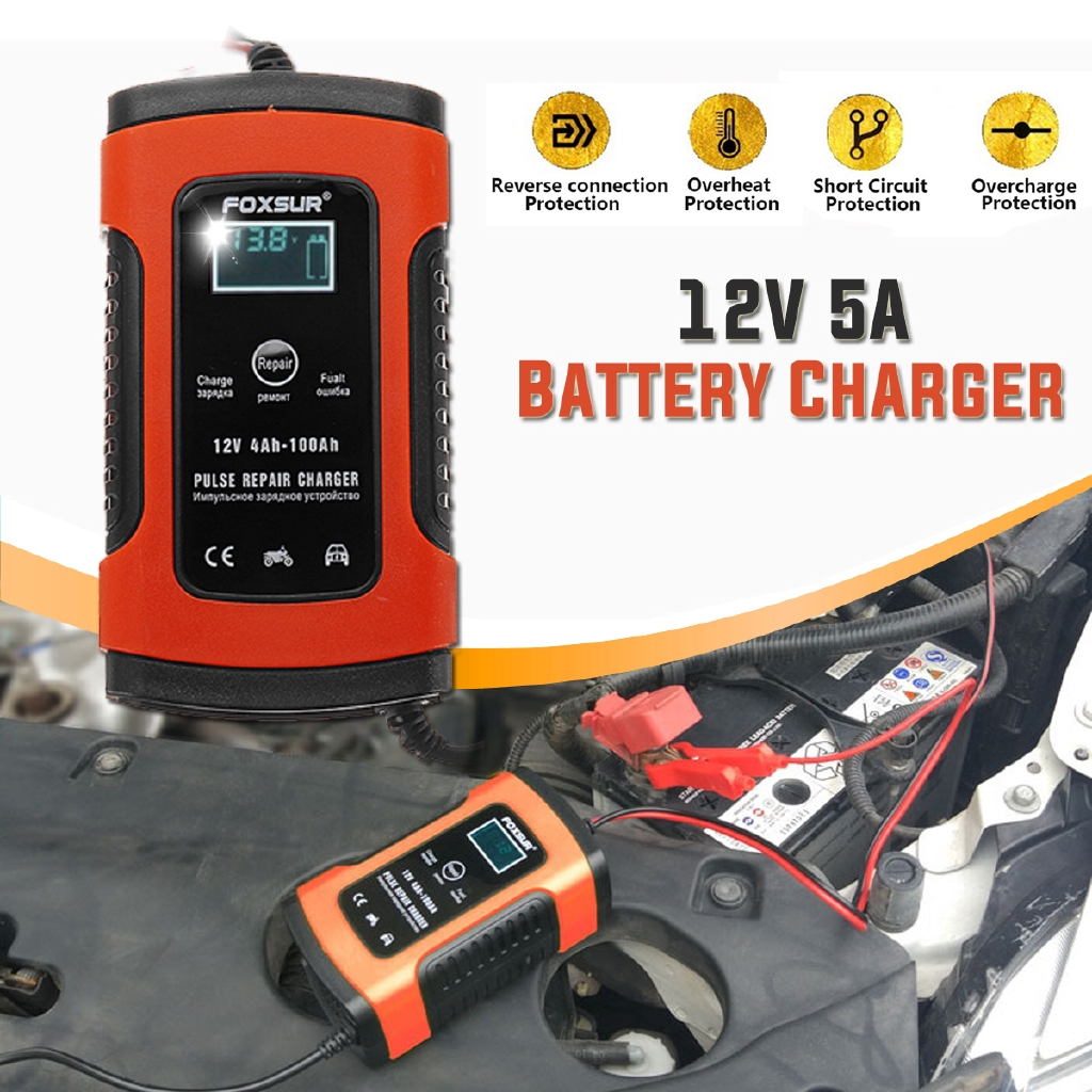FOXSUR 12V 5A Pulse Repair LCD Battery Charger Car Motorcycle Agm Wet Lead  Acid