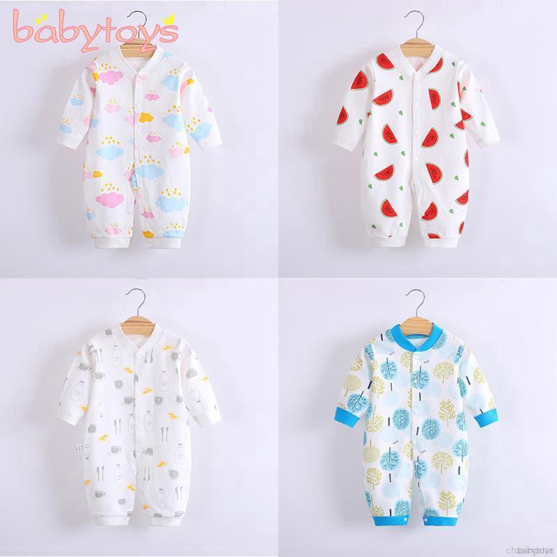 Newborn Infant Baby Boys Girls Long Sleeve Cartoon Print Zipper Romper Jumpsuit Outfits