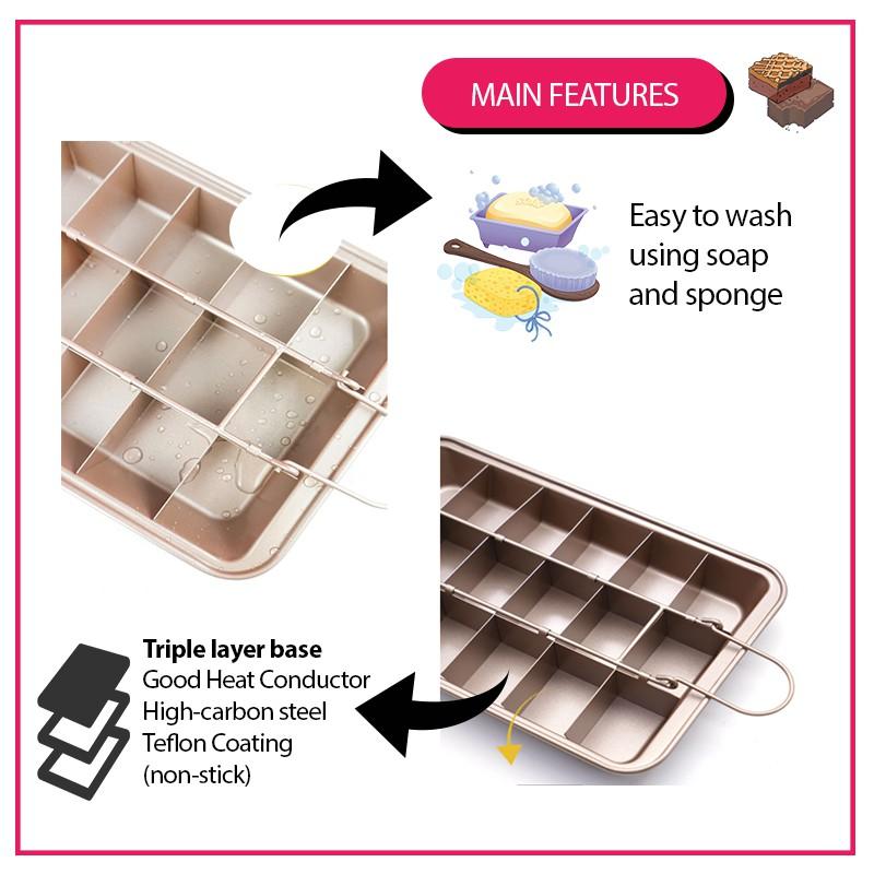 【READY STOCK】Brownie Pan Precut Cutter Mould Cake Bread Mould Mold Kitchen Baking Tool 布朗尼活底/死底烤盘