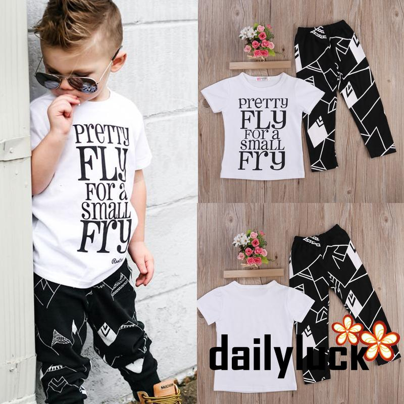 2PC Toddler Kids Baby Boys Infant Tops T-shirt+Pants Trousers Outfit Clothes Set