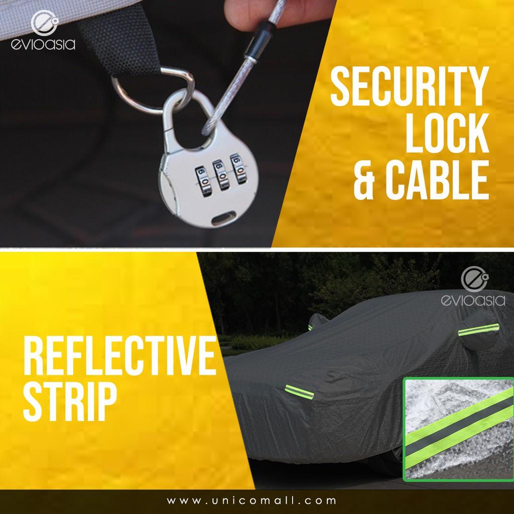 High Quality Car Cover With Zipper Door Design Anti-UV Heat Rain Dust Resistant Protection + WARRANTY (Model CBS)