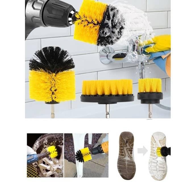 3 PCS Drill Scrubber Brush / Drill Brush Attachment, 360 Heavy Duty Stiff Bristle Power Scrubber
