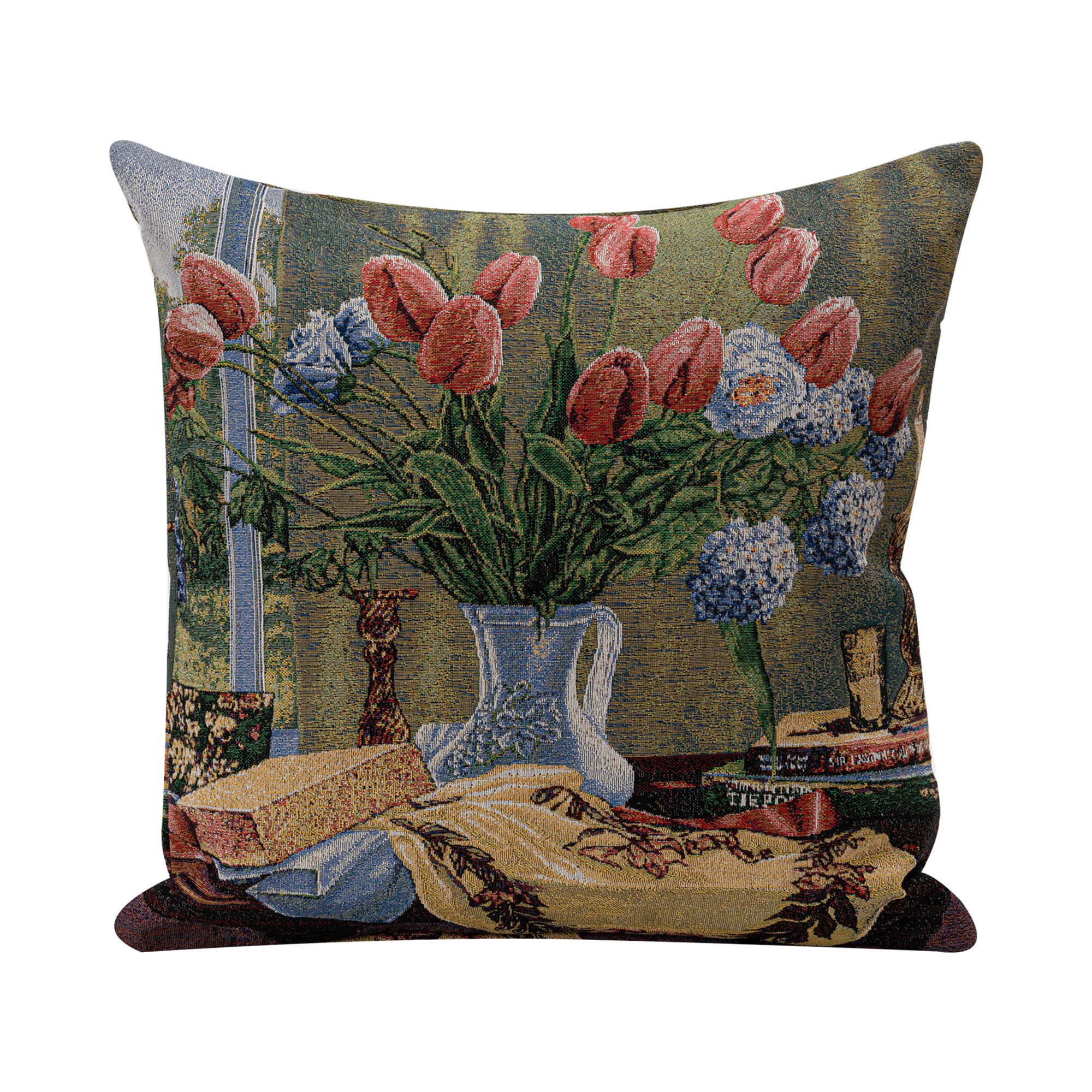 """Tulip Jacquard Woven Cushion Cover/Throw Pillow. Double-Sided Easy Care Polycotton. 45x45cm/18x18""""(Multicolor)"""