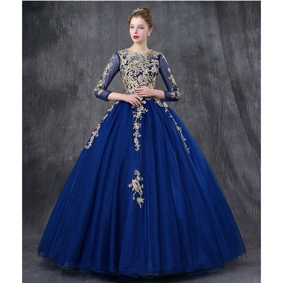 BEAUNIQUE Royal Blue Empire Palace Theme Baju Pengantin Luxury Wedding Gown