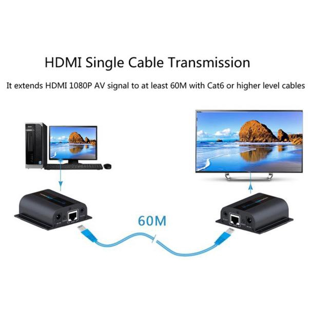 196ft//60m LKV372 PRO HDMI Network Extender Over Cat6 Single Cable with Loop-out