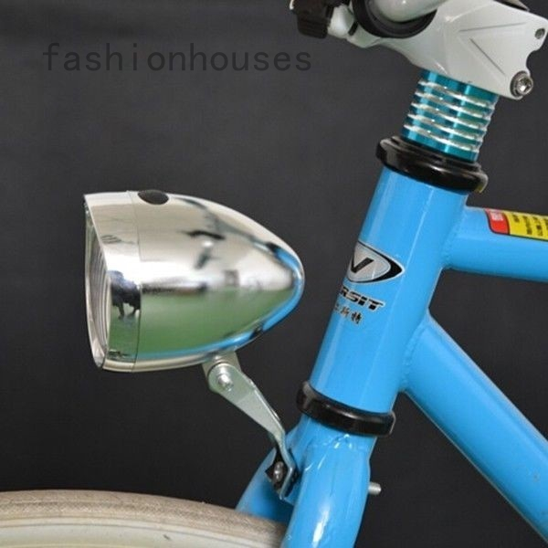 Retro Bike Front Light Vintage bicycle Headlight Led Lights with bracket Silver