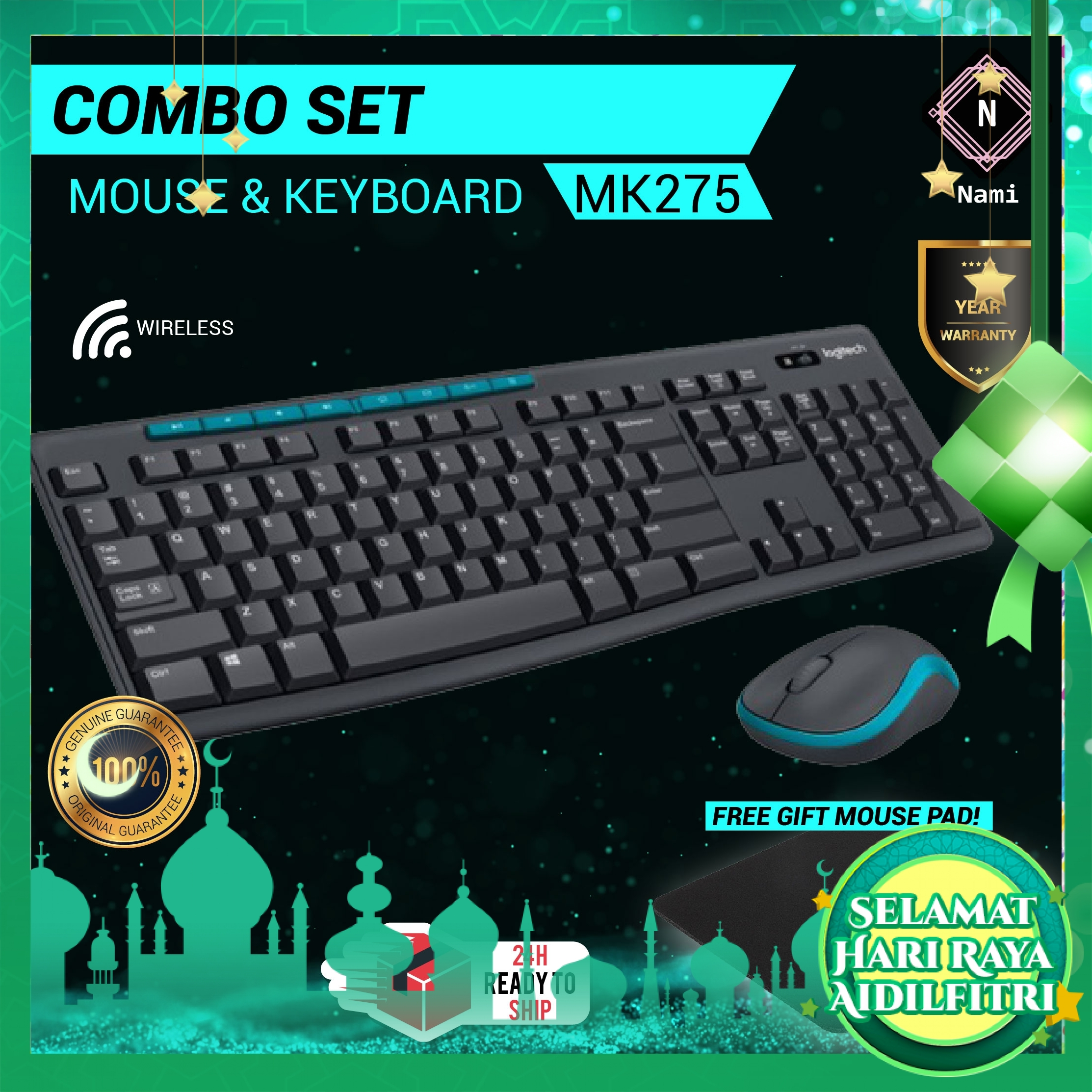 Logitech MK275 Wireless Combo Keyboard and Mouse (EXTRA Protection + Fragile Sticker)