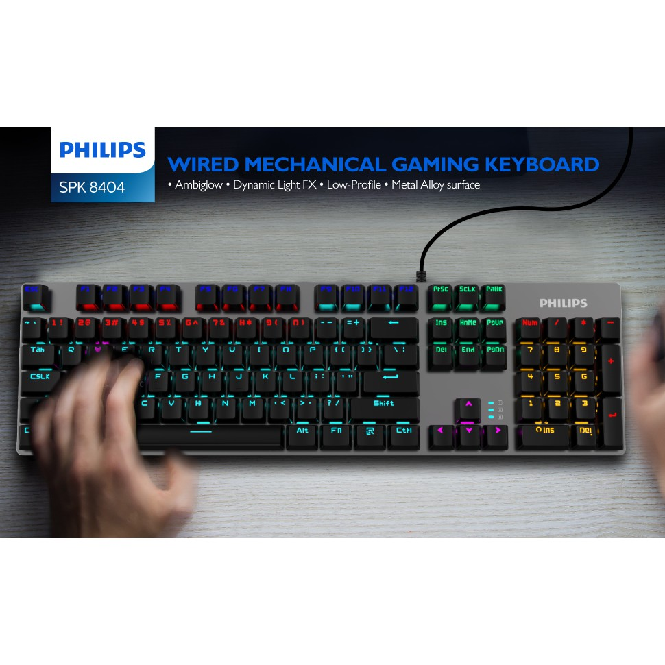Philips G404 SPK8404 Wired Mechanical RGB Gaming Keyboard With Color LED Back-lit