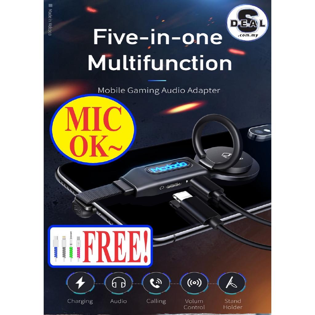 [MIC SUPPORT]MCDODO ORI RING MOBILE GAMING DUAL IPHONE LIGHTNING AUDIO  ADAPTER