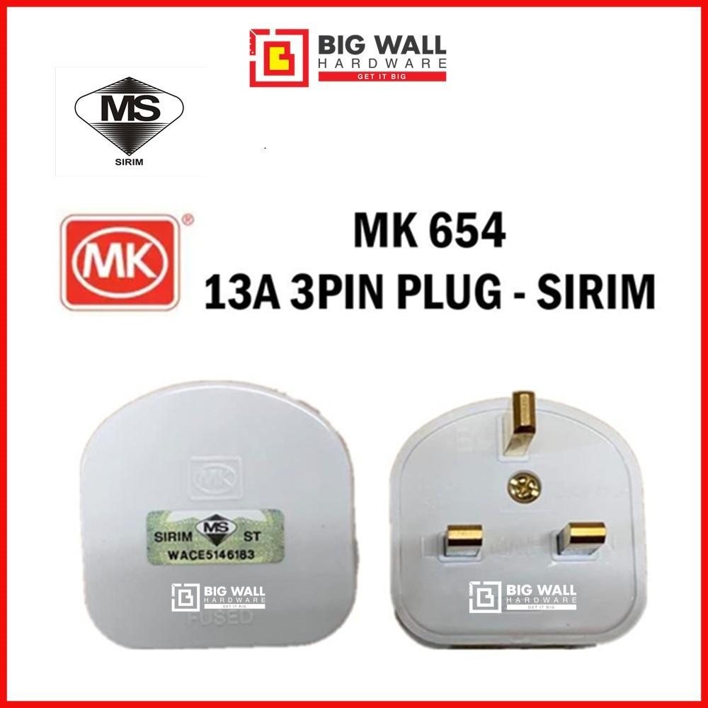 MK 654  / OEM 13A 3 Pin Fused Plug Top with Sirim Approval Kepala Plug Big Wall Hardware