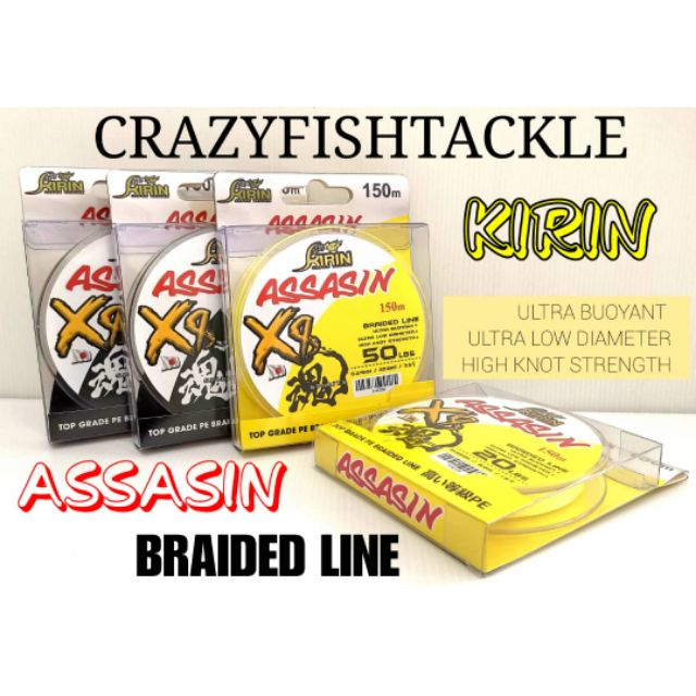 KIRIN ASSASIN X8/braided line/pe line/8 sulam/tali benang x8