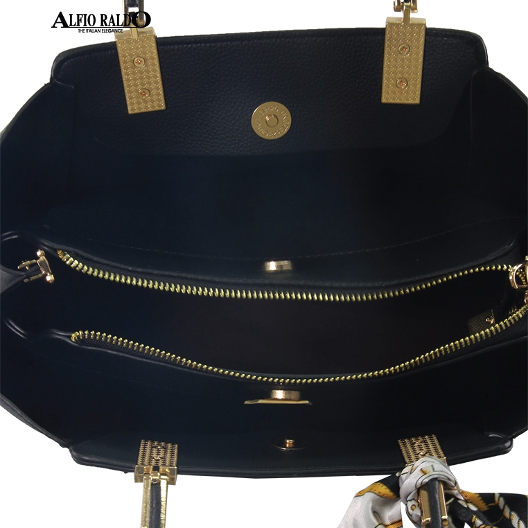 AR by Alfio Raldo Formal Black Metal Attachment Handle Tote Sling Bag with Leather Folder & Furry Hanging