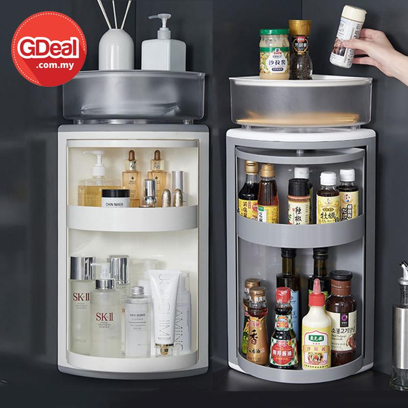 GDeal 3 Layers Kitchen Bathroom Nordic Corner 360 Rotating Multifunction Storage Rack Makeup Shelf